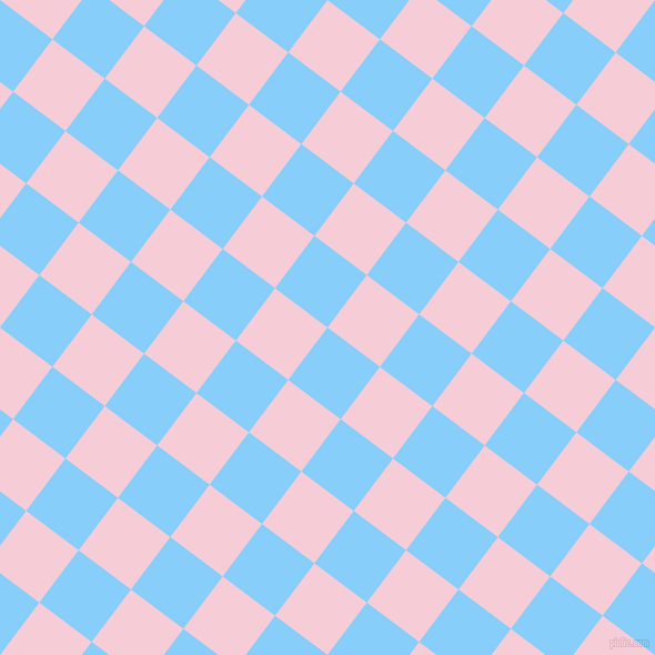 53/143 degree angle diagonal checkered chequered squares checker pattern checkers background, 59 pixel square size, Light Sky Blue and Pink Lace checkers chequered checkered squares seamless tileable
