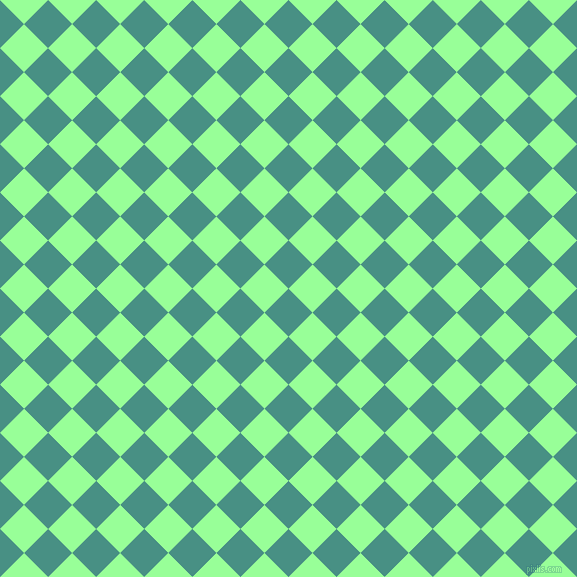 45/135 degree angle diagonal checkered chequered squares checker pattern checkers background, 34 pixel squares size, , Lochinvar and Mint Green checkers chequered checkered squares seamless tileable