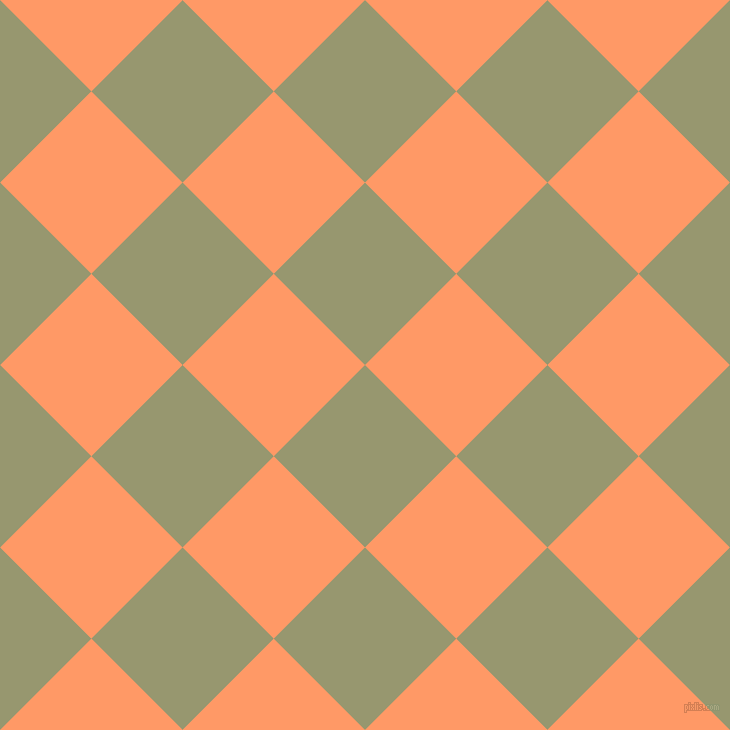 45/135 degree angle diagonal checkered chequered squares checker pattern checkers background, 129 pixel square size, , Malachite Green and Atomic Tangerine checkers chequered checkered squares seamless tileable