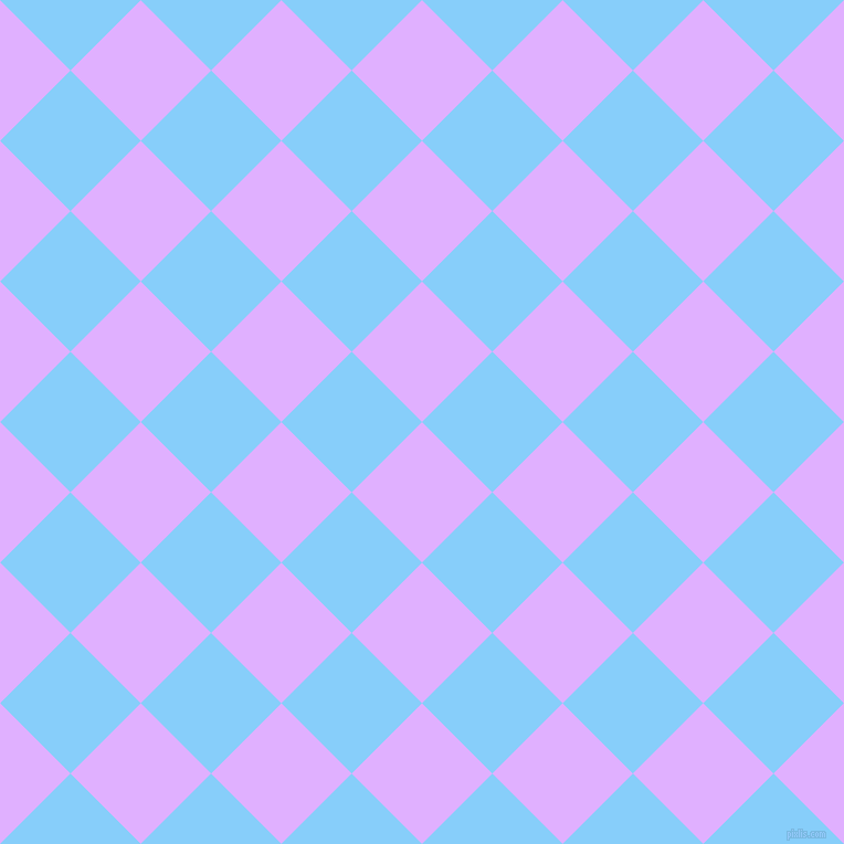 45/135 degree angle diagonal checkered chequered squares checker pattern checkers background, 90 pixel square size, , Mauve and Light Sky Blue checkers chequered checkered squares seamless tileable