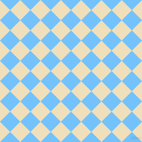 45/135 degree angle diagonal checkered chequered squares checker pattern checkers background, 50 pixel square size, , Maya Blue and Dutch White checkers chequered checkered squares seamless tileable