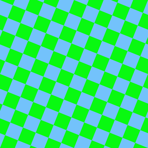 68/158 degree angle diagonal checkered chequered squares checker pattern checkers background, 58 pixel squares size, , Maya Blue and Free Speech Green checkers chequered checkered squares seamless tileable