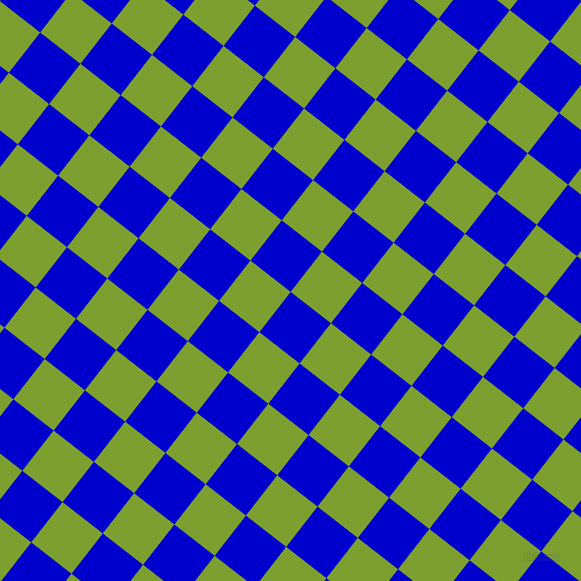 52/142 degree angle diagonal checkered chequered squares checker pattern checkers background, 51 pixel square size, , Medium Blue and Sushi checkers chequered checkered squares seamless tileable