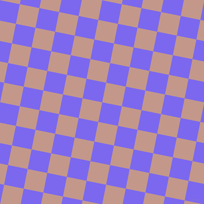 79/169 degree angle diagonal checkered chequered squares checker pattern checkers background, 77 pixel square size, Medium Slate Blue and Quicksand checkers chequered checkered squares seamless tileable