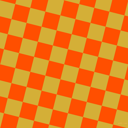 76/166 degree angle diagonal checkered chequered squares checker pattern checkers background, 61 pixel squares size, , Metallic Gold and International Orange checkers chequered checkered squares seamless tileable