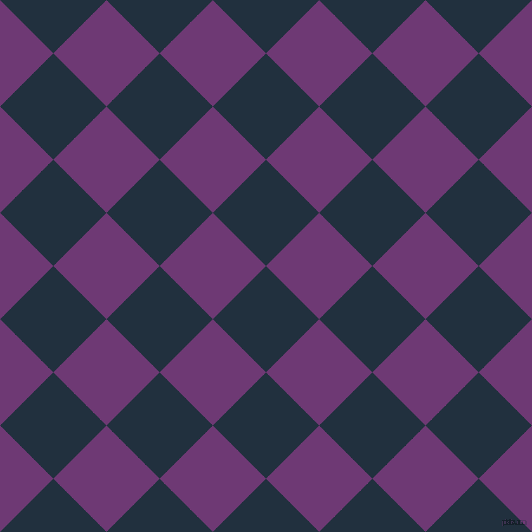 45/135 degree angle diagonal checkered chequered squares checker pattern checkers background, 107 pixel square size, , Midnight and Eminence checkers chequered checkered squares seamless tileable
