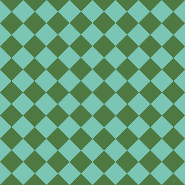 45/135 degree angle diagonal checkered chequered squares checker pattern checkers background, 57 pixel square size, , Monte Carlo and Fern Green checkers chequered checkered squares seamless tileable