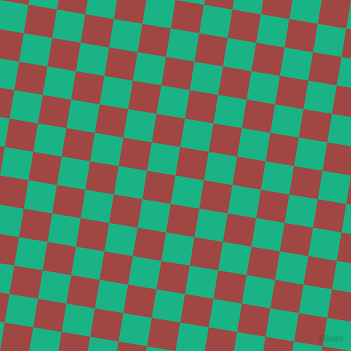 81/171 degree angle diagonal checkered chequered squares checker pattern checkers background, 42 pixel square size, , Mountain Meadow and Roof Terracotta checkers chequered checkered squares seamless tileable