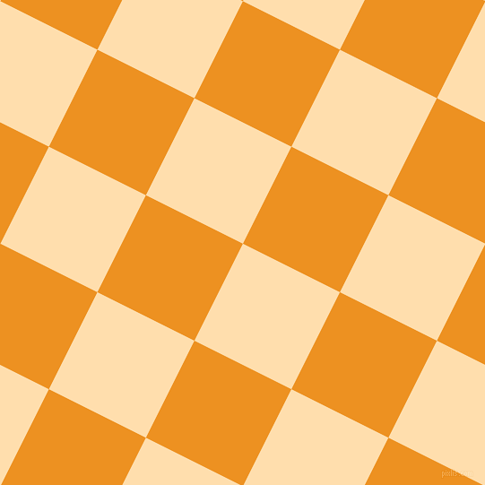 63/153 degree angle diagonal checkered chequered squares checker pattern checkers background, 121 pixel squares size, , Navajo White and Carrot Orange checkers chequered checkered squares seamless tileable