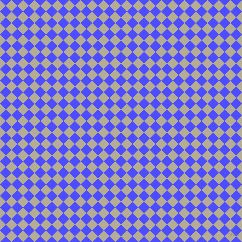 45/135 degree angle diagonal checkered chequered squares checker pattern checkers background, 27 pixel squares size, Neon Blue and Bison Hide checkers chequered checkered squares seamless tileable