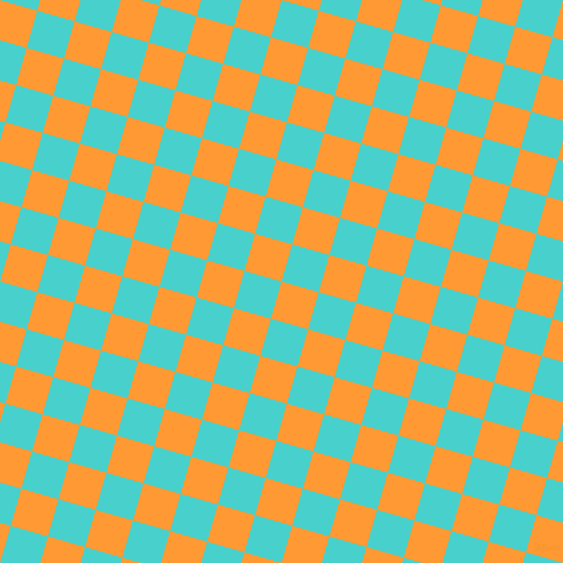 74/164 degree angle diagonal checkered chequered squares checker pattern checkers background, 55 pixel squares size, , Neon Carrot and Medium Turquoise checkers chequered checkered squares seamless tileable