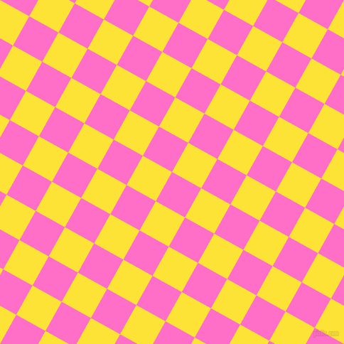 61/151 degree angle diagonal checkered chequered squares checker pattern checkers background, 47 pixel square size, , Neon Pink and Gorse checkers chequered checkered squares seamless tileable
