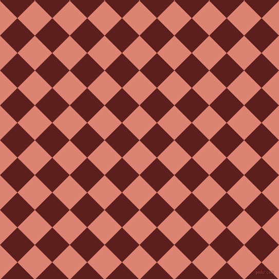 45/135 degree angle diagonal checkered chequered squares checker pattern checkers background, 48 pixel squares size, New York Pink and Red Oxide checkers chequered checkered squares seamless tileable