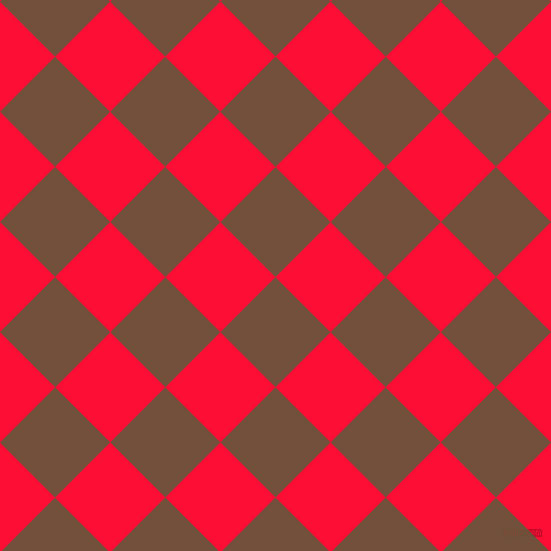 45/135 degree angle diagonal checkered chequered squares checker pattern checkers background, 71 pixel square size, , Old Copper and Torch Red checkers chequered checkered squares seamless tileable