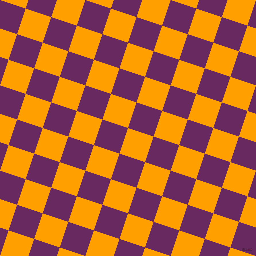 72/162 degree angle diagonal checkered chequered squares checker pattern checkers background, 94 pixel squares size, Orange Peel and Palatinate Purple checkers chequered checkered squares seamless tileable