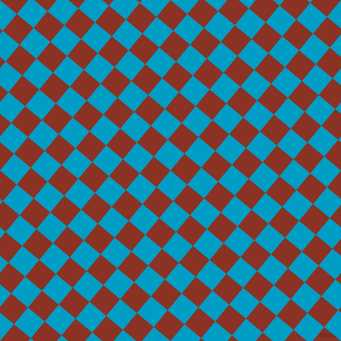 50/140 degree angle diagonal checkered chequered squares checker pattern checkers background, 45 pixel squares size, Pacific Blue and Burnt Umber checkers chequered checkered squares seamless tileable