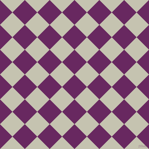 45/135 degree angle diagonal checkered chequered squares checker pattern checkers background, 68 pixel square size, Palatinate Purple and Kangaroo checkers chequered checkered squares seamless tileable
