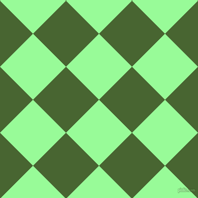 45/135 degree angle diagonal checkered chequered squares checker pattern checkers background, 95 pixel square size, , Pale Green and Dell checkers chequered checkered squares seamless tileable