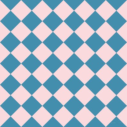 45/135 degree angle diagonal checkered chequered squares checker pattern checkers background, 49 pixel squares size, , Pale Pink and Boston Blue checkers chequered checkered squares seamless tileable