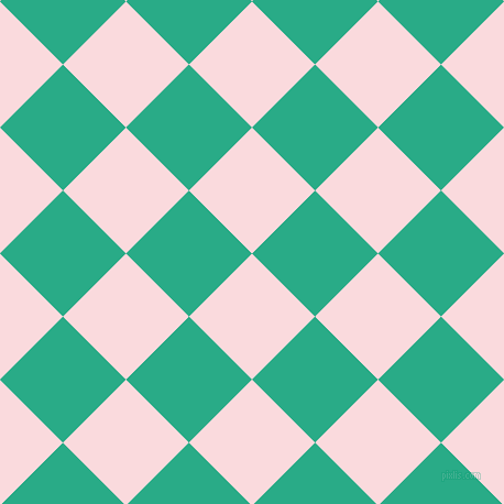 45/135 degree angle diagonal checkered chequered squares checker pattern checkers background, 81 pixel squares size, , Pale Pink and Jungle Green checkers chequered checkered squares seamless tileable