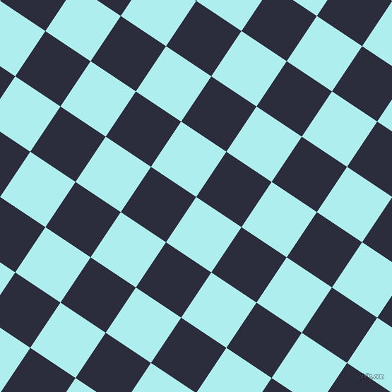 56/146 degree angle diagonal checkered chequered squares checker pattern checkers background, 77 pixel squares size, Pale Turquoise and Black Rock checkers chequered checkered squares seamless tileable
