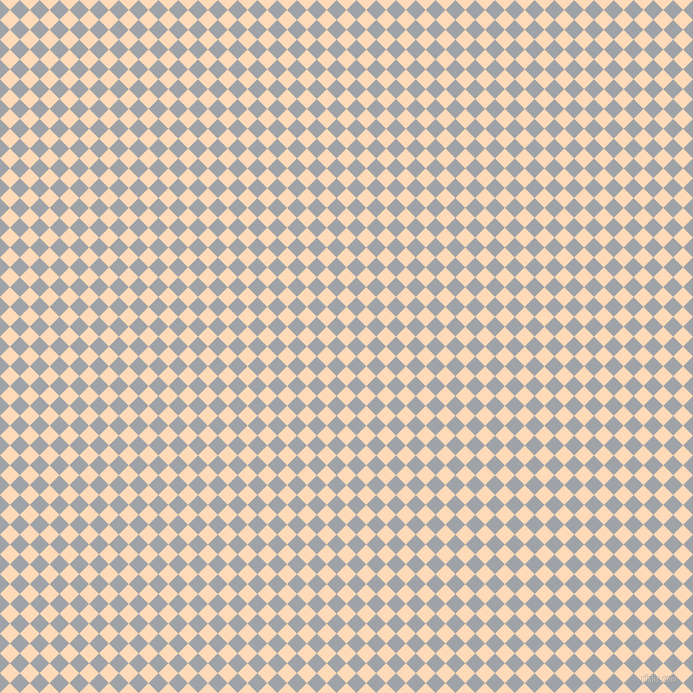 45/135 degree angle diagonal checkered chequered squares checker pattern checkers background, 14 pixel square size, , Peach Puff and Grey Chateau checkers chequered checkered squares seamless tileable