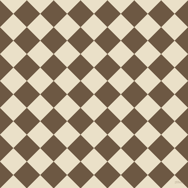 45/135 degree angle diagonal checkered chequered squares checker pattern checkers background, 75 pixel square size, , Pearl Lusta and Tobacco Brown checkers chequered checkered squares seamless tileable