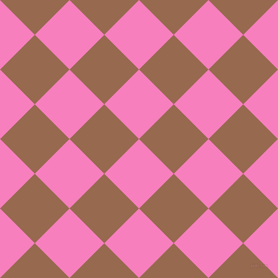 45/135 degree angle diagonal checkered chequered squares checker pattern checkers background, 100 pixel square size, , Persian Pink and Dark Tan checkers chequered checkered squares seamless tileable