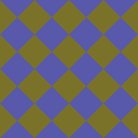 45/135 degree angle diagonal checkered chequered squares checker pattern checkers background, 82 pixel squares size, Pesto and Rich Blue checkers chequered checkered squares seamless tileable