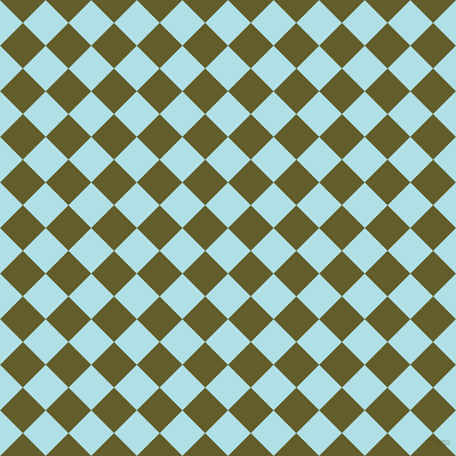 45/135 degree angle diagonal checkered chequered squares checker pattern checkers background, 47 pixel squares size, , Powder Blue and Costa Del Sol checkers chequered checkered squares seamless tileable