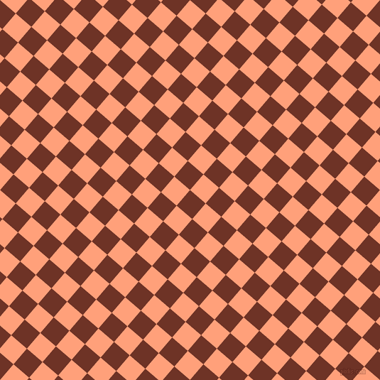 49/139 degree angle diagonal checkered chequered squares checker pattern checkers background, 29 pixel squares size, , Pueblo and Light Salmon checkers chequered checkered squares seamless tileable