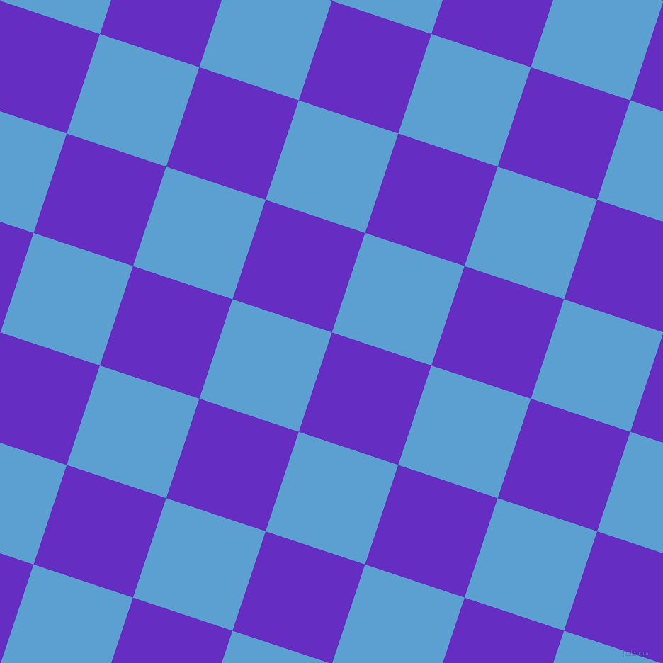 72/162 degree angle diagonal checkered chequered squares checker pattern checkers background, 148 pixel square size, Purple Heart and Picton Blue checkers chequered checkered squares seamless tileable