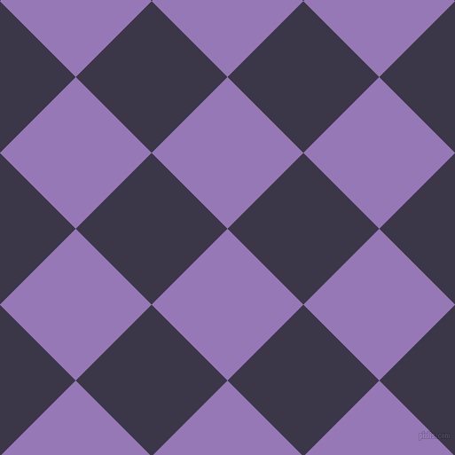 45/135 degree angle diagonal checkered chequered squares checker pattern checkers background, 121 pixel square size, Purple Mountain's Majesty and Martinique checkers chequered checkered squares seamless tileable