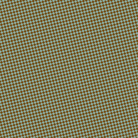 59/149 degree angle diagonal checkered chequered squares checker pattern checkers background, 7 pixel square size, , Raw Umber and Sea Nymph checkers chequered checkered squares seamless tileable