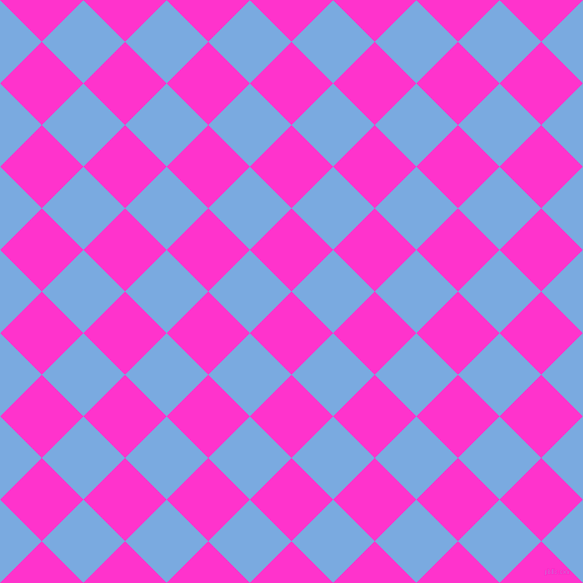 45/135 degree angle diagonal checkered chequered squares checker pattern checkers background, 84 pixel square size, , Razzle Dazzle Rose and Jordy Blue checkers chequered checkered squares seamless tileable