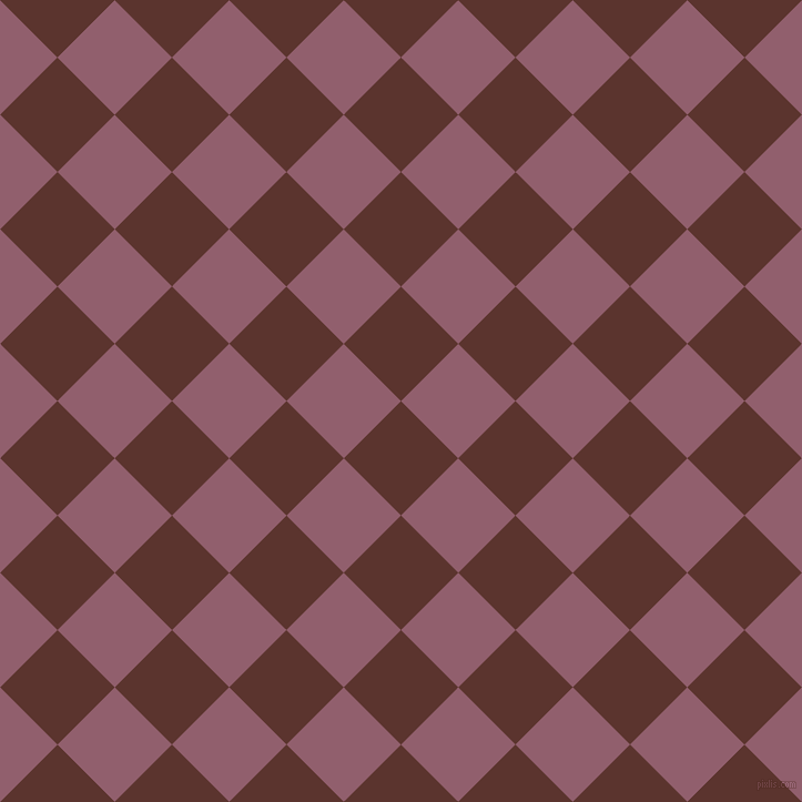 45/135 degree angle diagonal checkered chequered squares checker pattern checkers background, 73 pixel square size, , Redwood and Mauve Taupe checkers chequered checkered squares seamless tileable