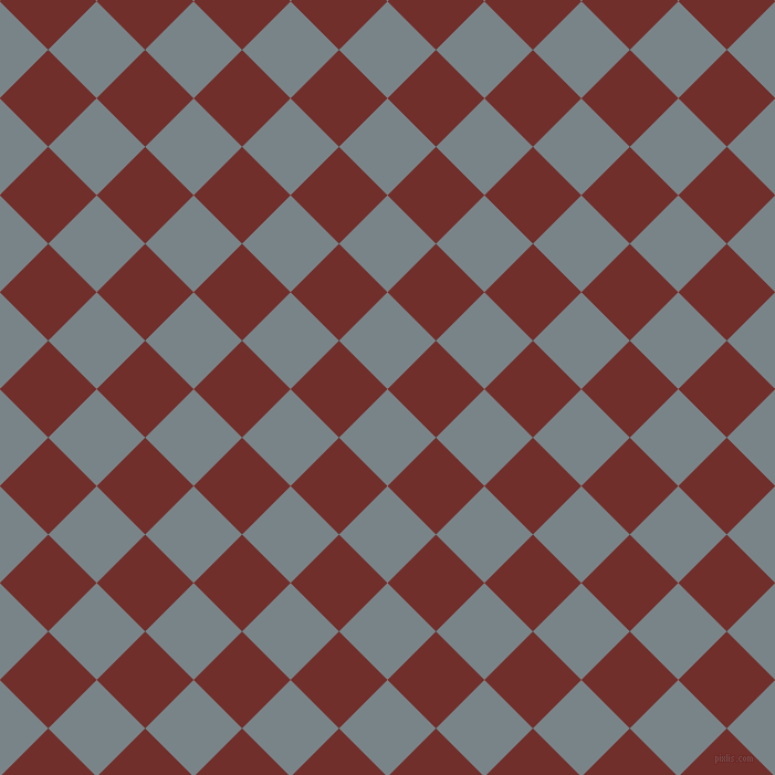 45/135 degree angle diagonal checkered chequered squares checker pattern checkers background, 62 pixel squares size, Regent Grey and Auburn checkers chequered checkered squares seamless tileable