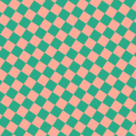 56/146 degree angle diagonal checkered chequered squares checker pattern checkers background, 31 pixel squares size, Rose Bud and Jungle Green checkers chequered checkered squares seamless tileable