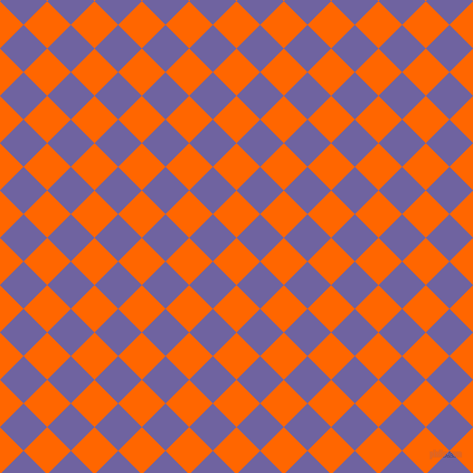 45/135 degree angle diagonal checkered chequered squares checker pattern checkers background, 37 pixel squares size, , Safety Orange and Scampi checkers chequered checkered squares seamless tileable