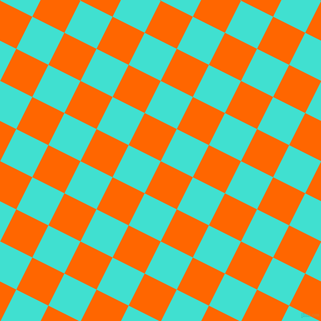 63/153 degree angle diagonal checkered chequered squares checker pattern checkers background, 71 pixel square size, , Safety Orange and Turquoise checkers chequered checkered squares seamless tileable