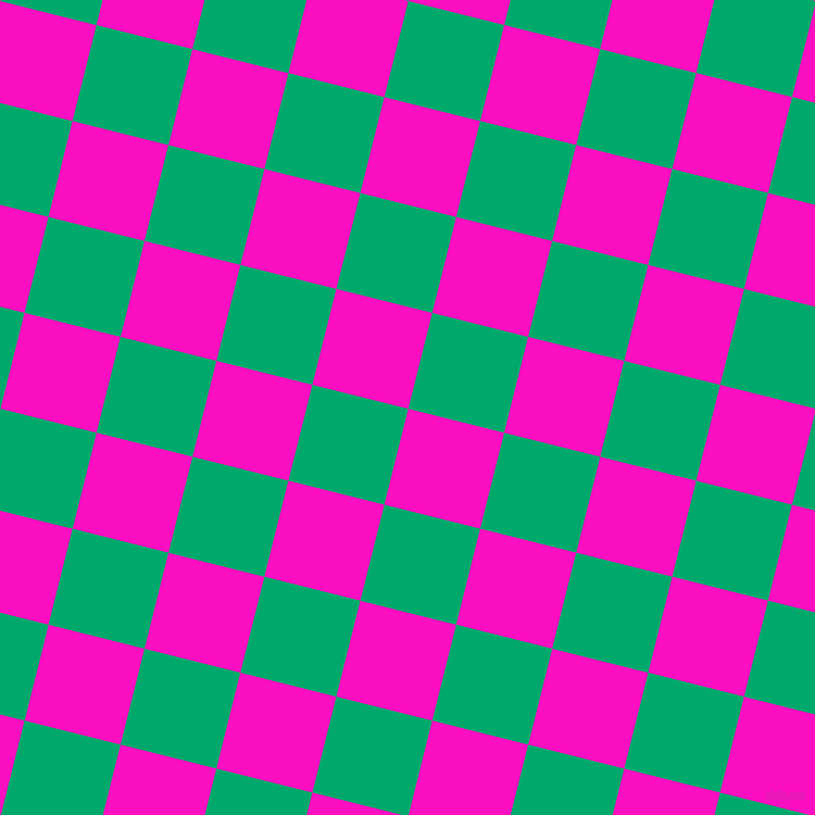 76/166 degree angle diagonal checkered chequered squares checker pattern checkers background, 91 pixel squares size, , Shocking Pink and Jade checkers chequered checkered squares seamless tileable