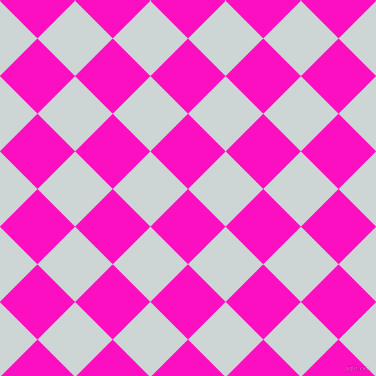 45/135 degree angle diagonal checkered chequered squares checker pattern checkers background, 77 pixel square size, , Shocking Pink and Zumthor checkers chequered checkered squares seamless tileable