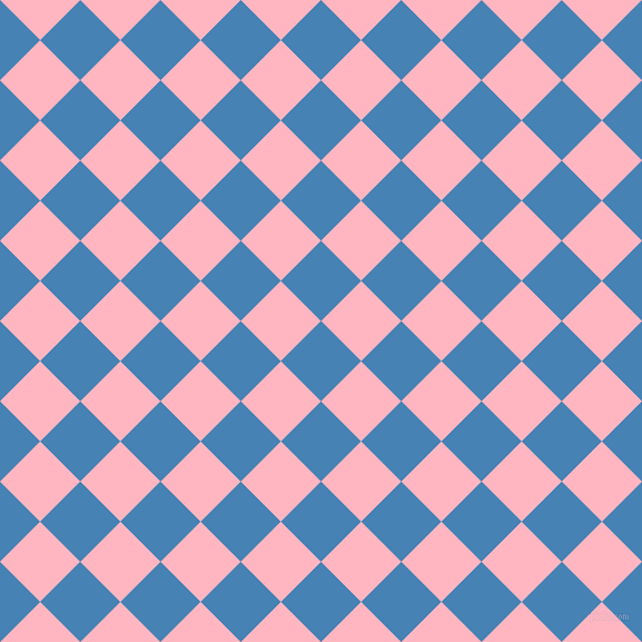 45/135 degree angle diagonal checkered chequered squares checker pattern checkers background, 51 pixel square size, , Steel Blue and Light Pink checkers chequered checkered squares seamless tileable