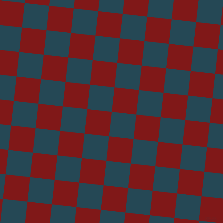 84/174 degree angle diagonal checkered chequered squares checker pattern checkers background, 80 pixel square size, , Teal Blue and Falu Red checkers chequered checkered squares seamless tileable