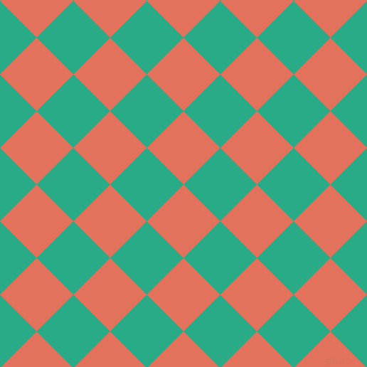 45/135 degree angle diagonal checkered chequered squares checker pattern checkers background, 73 pixel square size, , Terra Cotta and Jungle Green checkers chequered checkered squares seamless tileable