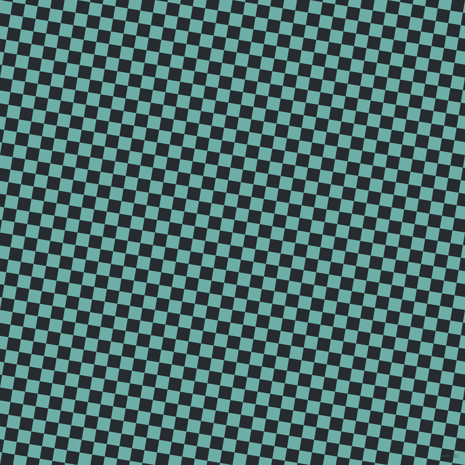 81/171 degree angle diagonal checkered chequered squares checker pattern checkers background, 26 pixel squares size, , Tradewind and Blue Charcoal checkers chequered checkered squares seamless tileable