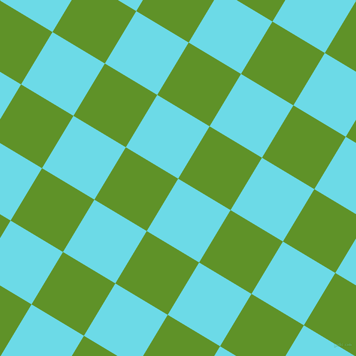 59/149 degree angle diagonal checkered chequered squares checker pattern checkers background, 123 pixel squares size, , Turquoise Blue and Vida Loca checkers chequered checkered squares seamless tileable