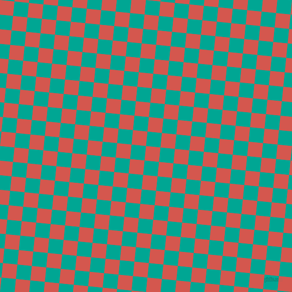 84/174 degree angle diagonal checkered chequered squares checker pattern checkers background, 29 pixel square size, , Valencia and Persian Green checkers chequered checkered squares seamless tileable