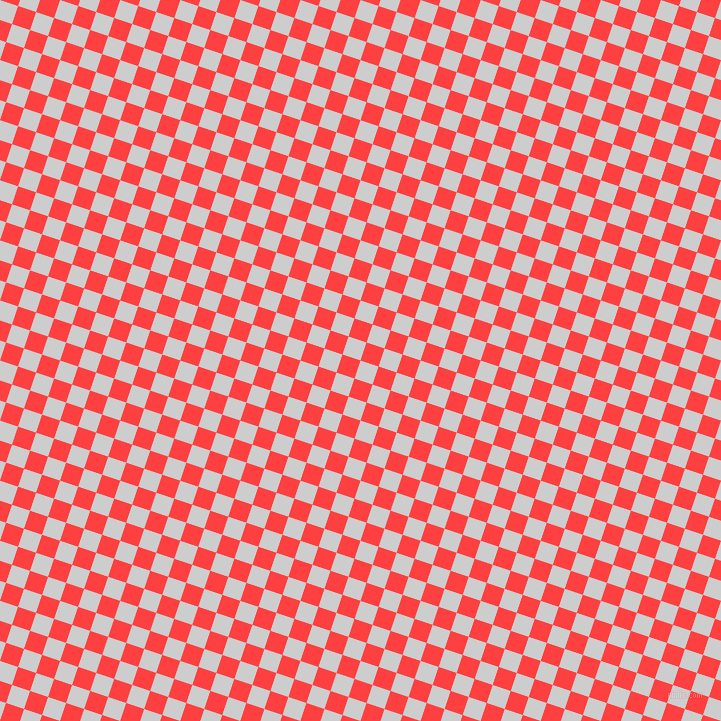 Very Light Grey And Coral Red Checkers Chequered Checkered