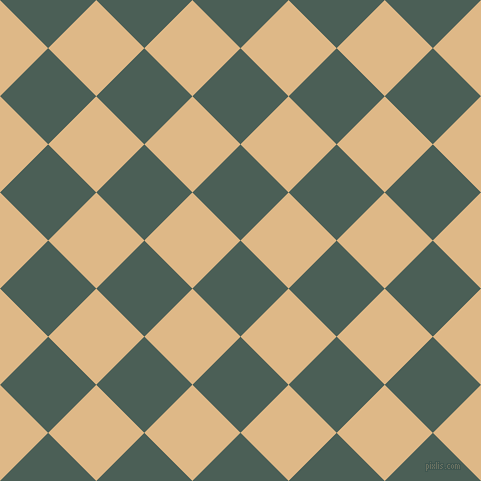 45/135 degree angle diagonal checkered chequered squares checker pattern checkers background, 68 pixel squares size, , Viridian Green and Burly Wood checkers chequered checkered squares seamless tileable